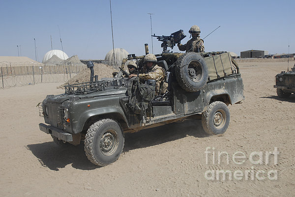 British Soldiers In Their Land Rover Print by Andrew Chittock