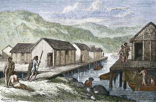 Bronze Age Village, 19th Century Artwork Print by Sheila Terry