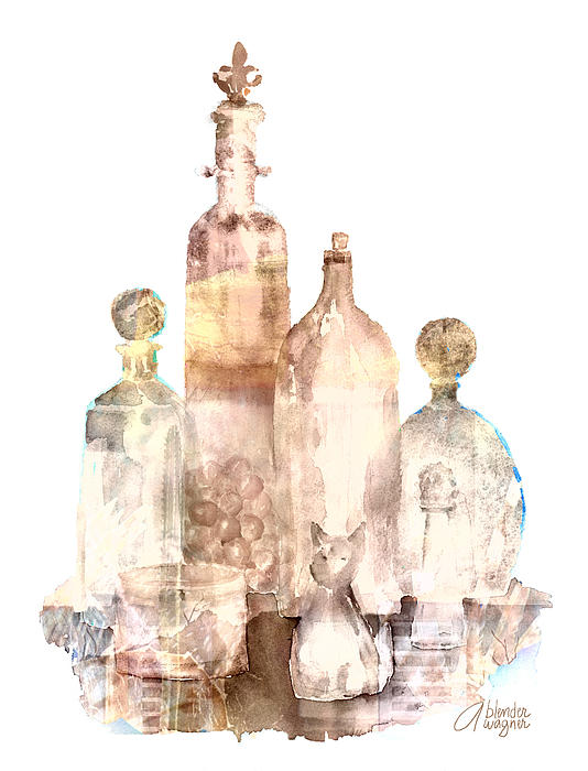 Bronzed Bottles Print by Arline Wagner
