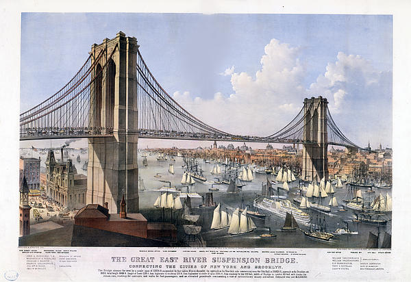 Brooklyn Bridge Print by Charles  shoup