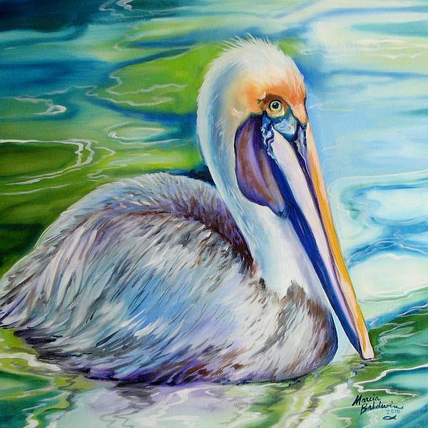 Brown Pelican Of Louisiana Print by Marcia Baldwin