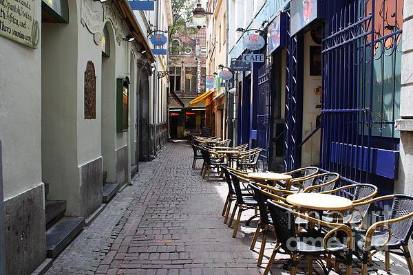 Brussels Side Street Cafe Print by Carol Groenen