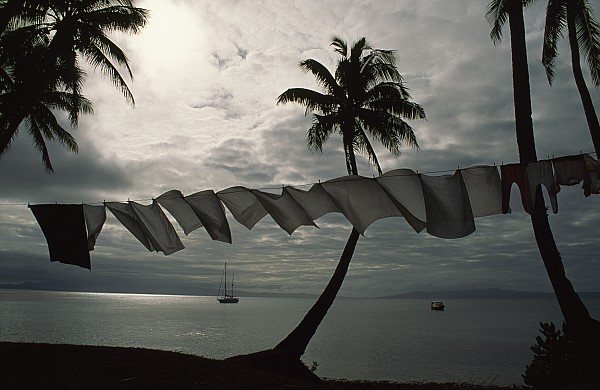 Buca Bay, Laundry And Palm Trees Print by James L. Stanfield