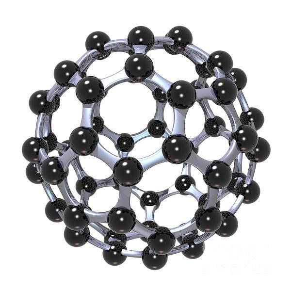 Buckminsterfullerene Or Buckyball C60 18 Print by Russell Kightley