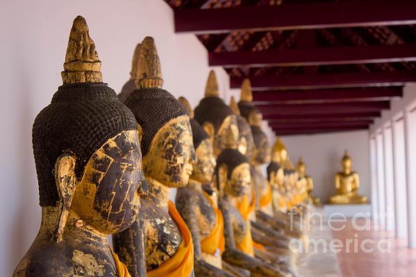 Buddha Culptures Print by Asaha Ruangpanupan