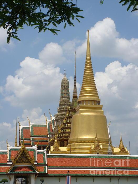 Buddhist Chedi - Bangkok Print by Mike Holloway