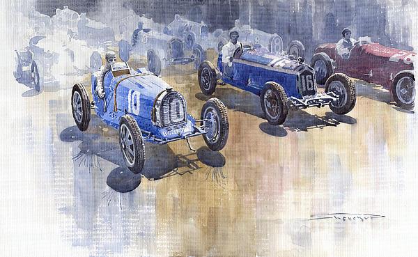 Bugatti 51 Alfa Romeo 8c 1933 Monaco Gp Print by Yuriy  Shevchuk