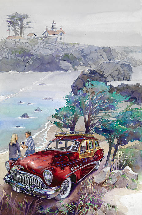 Buick At Battery Point Print by Mike Hill