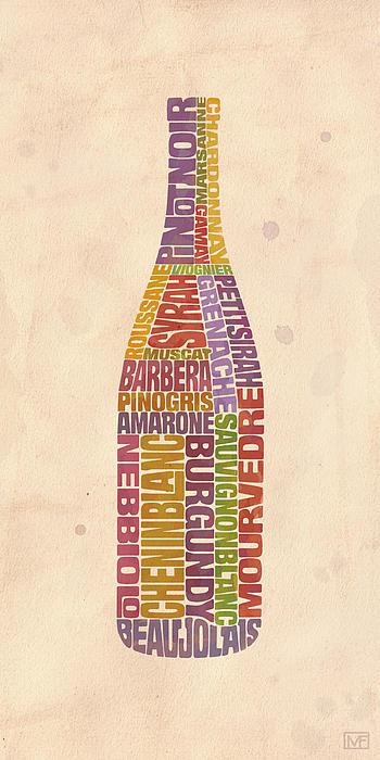 Burgundy Wine Word Bottle Print by Mitch Frey
