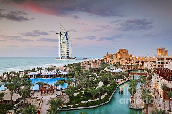 Burj Al Arab Hotel And Madinat Jumeirah Resort Print by Jeremy Woodhouse