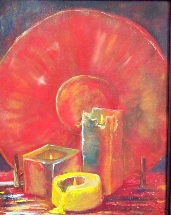 Burning candles by lynda mcdonald burning candles for Candle painting medium