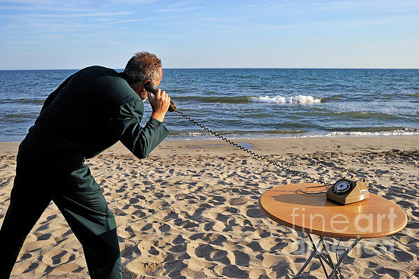 Businessman On Beach With Landline Phone Print by Sami Sarkis
