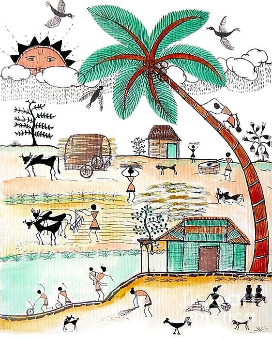 Busy Warli Day Print by Anjali Vaidya
