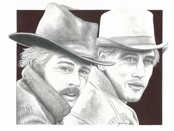 Butch Casidy and the Sundance kid Robert Redford Paul Newman Drawing - Butch ...