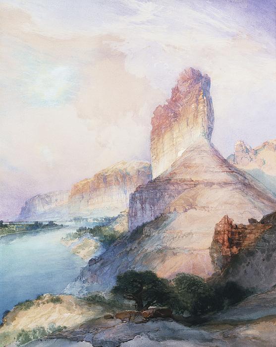 Butte Green River Wyoming Print by Thomas Moran