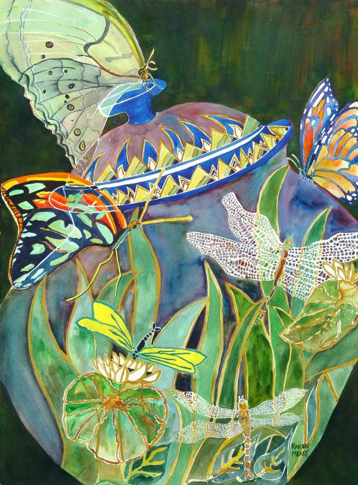 Butterflies And Dragonflies Print by Karen MerryDragonflies And Butterflies