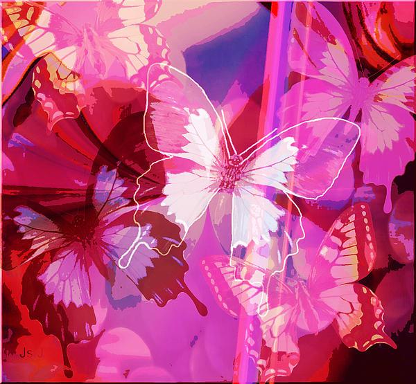 Butterflies En Rouge Print by Jan Steadman-Jackson