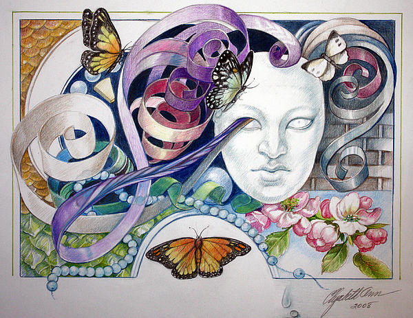 Butterflies With Mask Print by Elizabeth Shafer