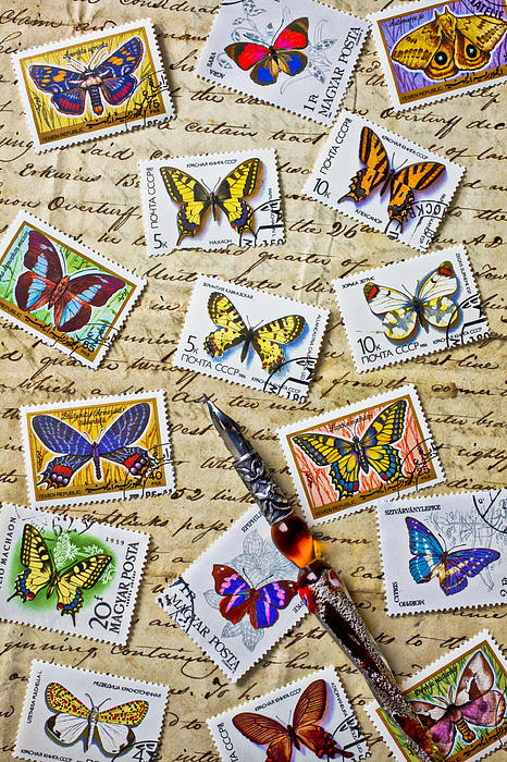 Butterfly Stamps And Old Document Print by Garry Gay