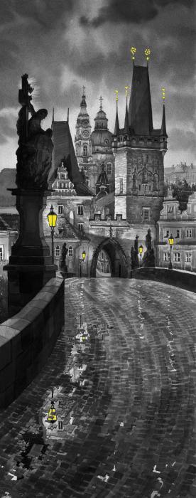 Bw Prague Charles Bridge 03 Print by Yuriy  Shevchuk