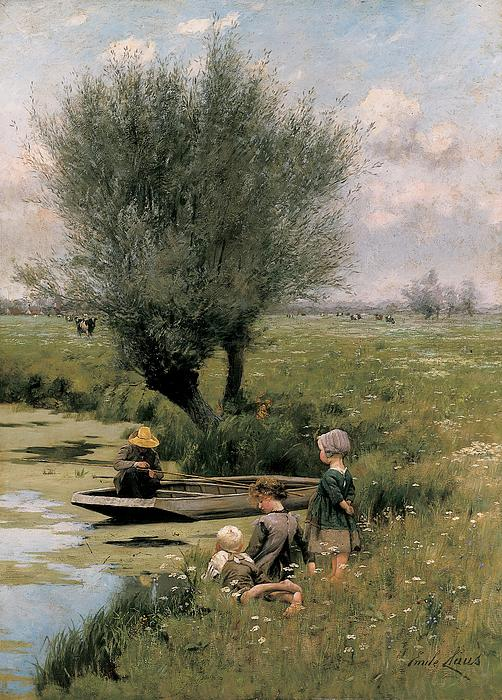 By The Riverside Print by Emile Claus