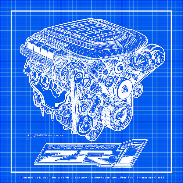 C6 ZR1 Corvette LS9 Engine Blueprint Drawing
