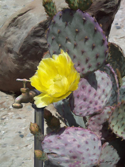 Cactus Flower 2 Print by Snake Jagger