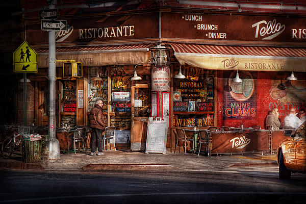Cafe - Ny - Chelsea - Tello Ristorante Print by Mike Savad
