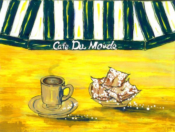 Cafe Au Lait And Beignets On Yellow Background Painting