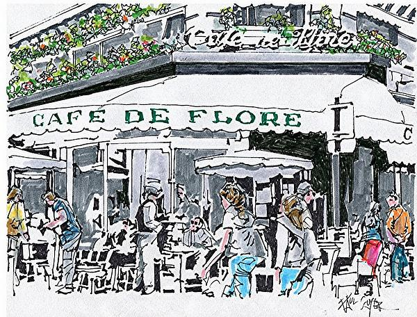 Cafe De Flore Paris France by Paul Guyer