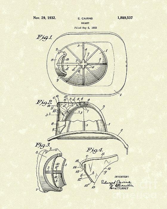 Cairns Helmet 1932 Patent Art Print by Prior Art Design
