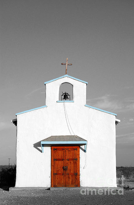 Calera Mission Chapel Facade In West Texas Color Splash Black And White Print by Shawn O'Brien