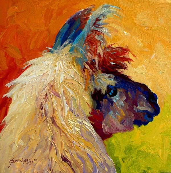 Calico Llama Print by Marion Rose