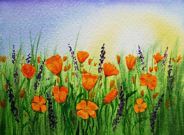 California Poppies Field Print by Irina Sztukowski
