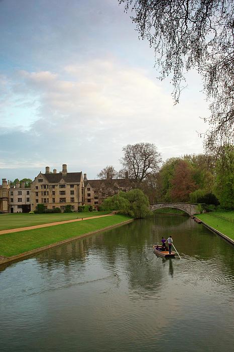 Cambridge Clare College Stream And Boat Print by Douglas Barnett
