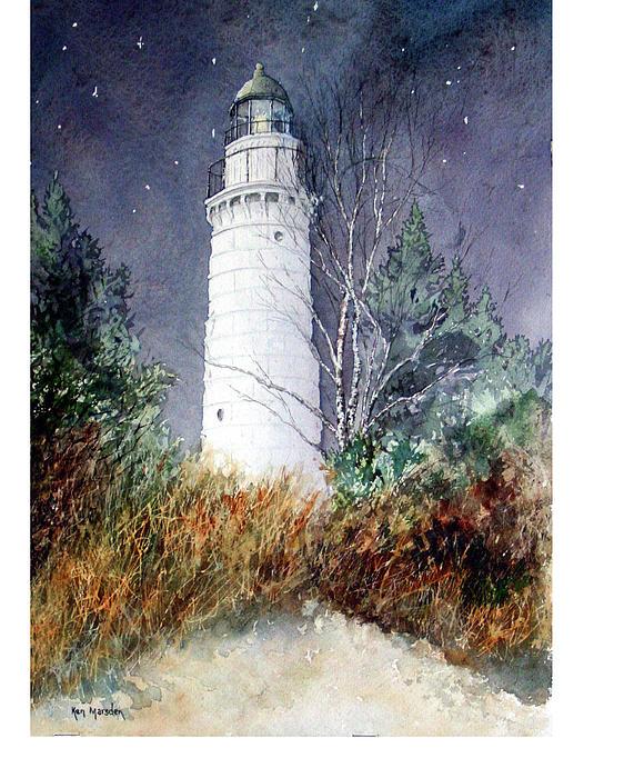 Cana Island Light House Print by Ken Marsden