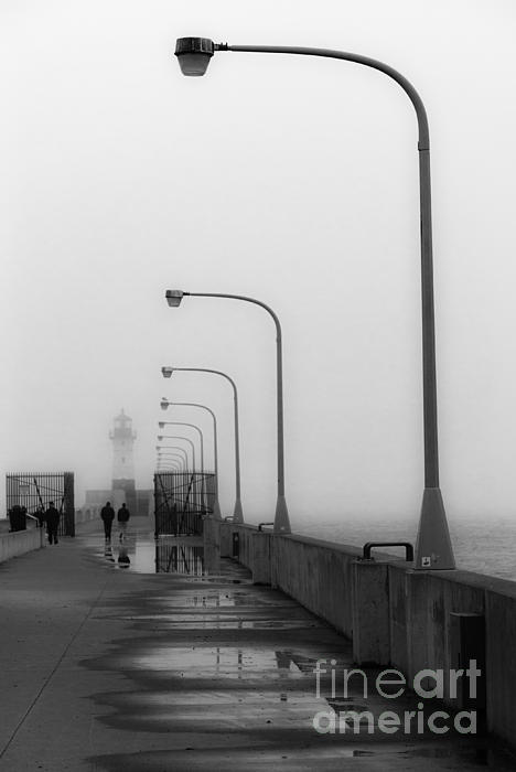 Canal Park Lighthouse In Fog Print by Shutter Happens Photography