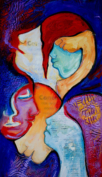 Cancer 7 Faces Of Grieving Print by Claudia Fuenzalida Johns