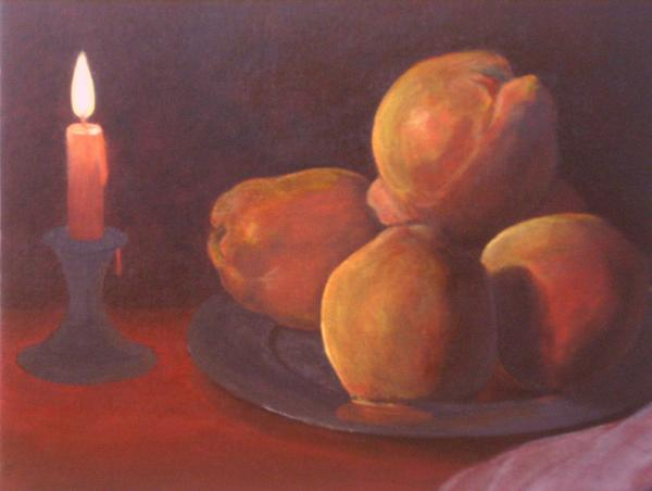 Candle and quinces after zurbaran by michael townsand for Candle painting medium