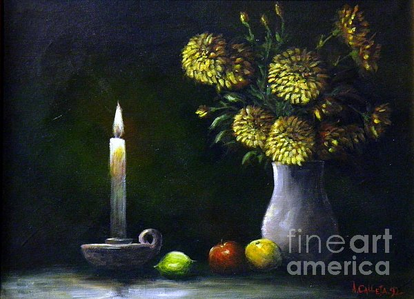 Candle light by tony calleja for Candle painting medium