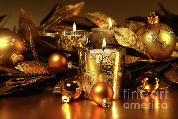 Candles Light In Sparkling Gold  Print by Sandra Cunningham