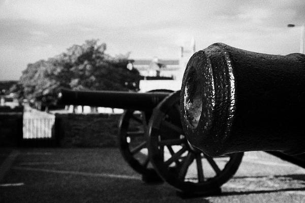 Cannons On The Mall Wall And Double Bastion Section Of Derrys City Walls Print by Joe Fox