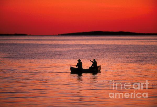Canoe Fishing Print by John Greim