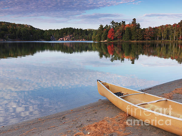 Canoe On A Shore Autumn Nature Scenery Print by Oleksiy Maksymenko
