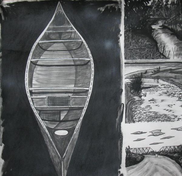 Canoe With Three Rivers Print by Lee Davies