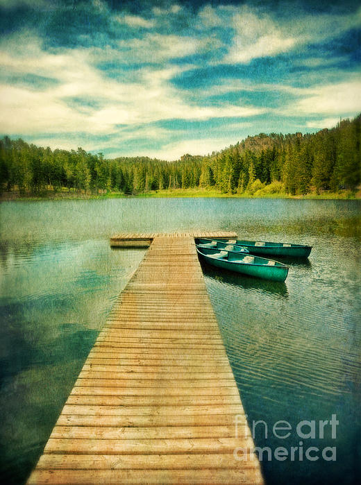 Canoes At The End Of The Dock Print by Jill Battaglia