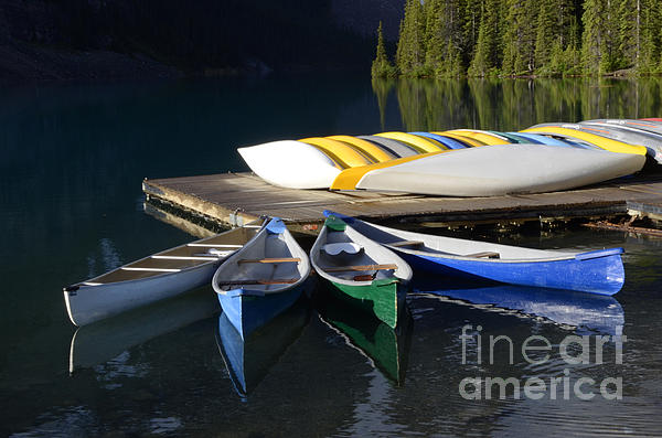 Canoes Morraine Lake 2 Print by Bob Christopher
