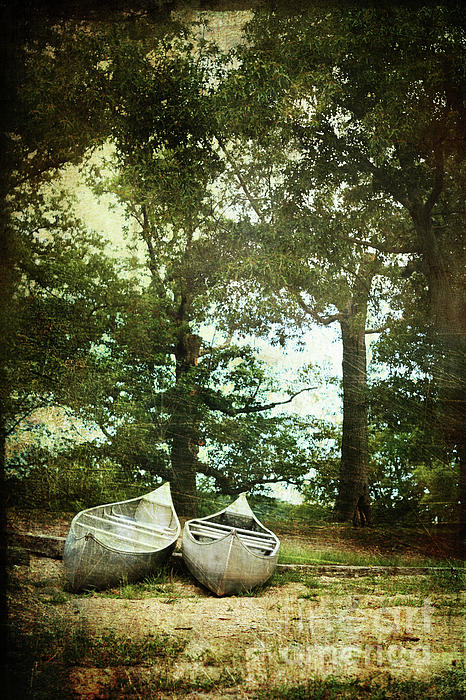 Canoes On The Shore Print by Stephanie Frey