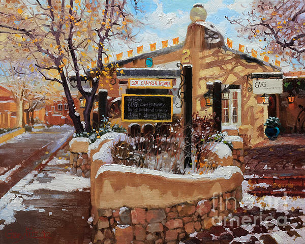 Canyon Road Winter Print by Gary Kim