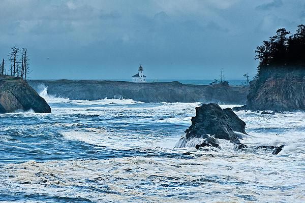 Cape Arago Light House Print by Alvin Kroon